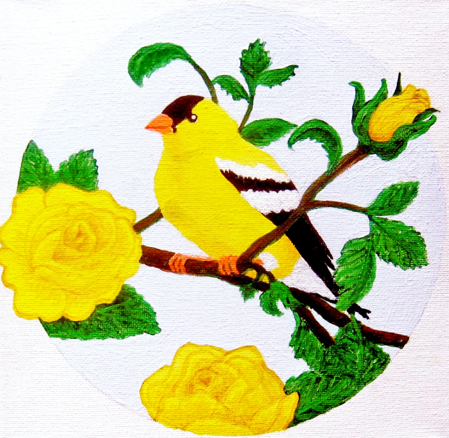 """Finch on Yellow Roses"""